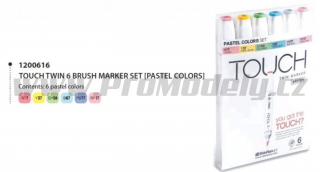 Touch Twin Brush Marker 6ks, pastelové tóny